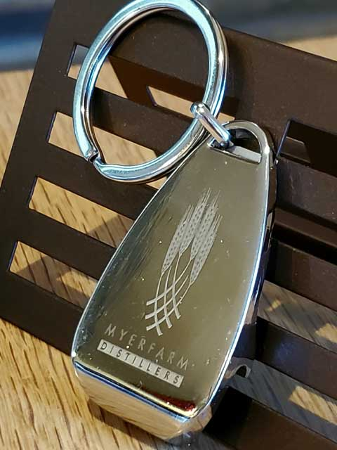Myer Farm Distillers Keychain with Bottle Opener